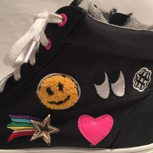 Girls Black Hi Top Emoji Patches Sneakers
